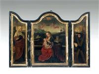 la vierge à l'enfant, sainte elisabeth de hongrie et donateur portant la croix de saint andré (triptych) (double-sided) by master of saint sang