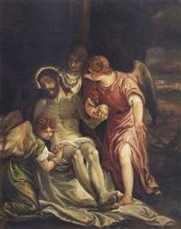 cristo muerto, la virgen y dos ángeles by benedetto caliari
