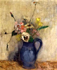 summer flowers in a blue jug by juliette cambier