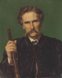 portrait of rith wallace-dunlop, half-length, in a brown coat, holding a gun by george frederick watts