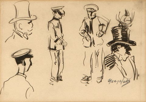 male figure studies by george benjamin luks