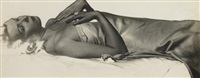 reclining nude with satin sheet by man ray
