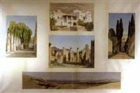vues d'italie et de grèce dont pompéi, villa d'este et athènes by gabriel auguste ancelet