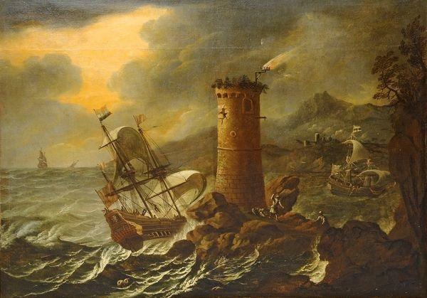 navires sur une mer agitée aux abords dun phare by francesco maria borzone