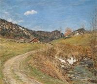 landschaft im salzkammergut by adolf helmberger