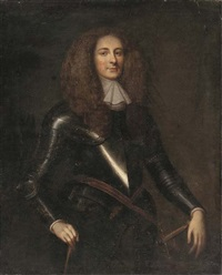 portrait of a gentleman, three-quarter-length, in full-armour by john hayls
