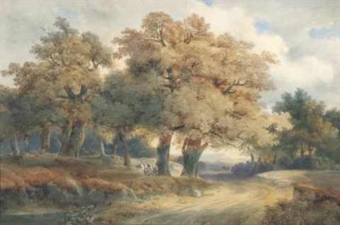arbres chemins et personnages trees tracks and figures by alexandre calame