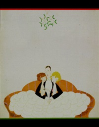 guy with two sweethearts in white on couch under the mistletoe by anne hariet (sefton) fish
