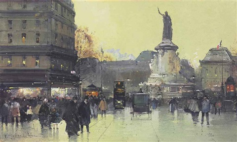 place de la république paris by eugène galien laloue