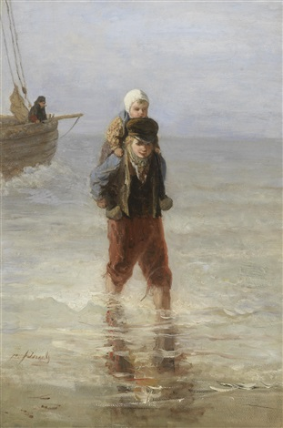 wading ashore by jozef israëls