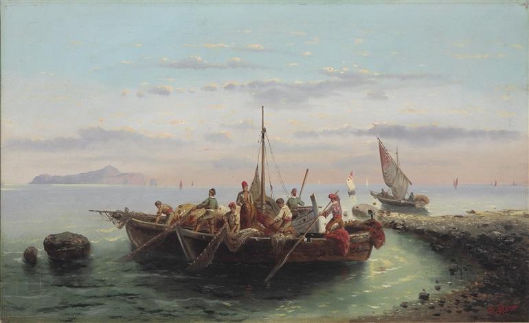 fischerboote an der küste vor capri by robert alott