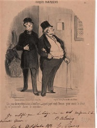 un jour de représentation à bénéfice (+3 others; set of 4) by honoré daumier