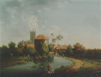 a distant view of canterbury cathedral with figures fishing in the foreground by arthur nelson