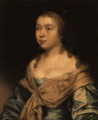 portrait of a young woman in a blue dress and embroidered shawl by john hayls