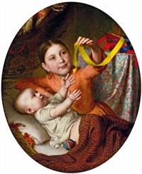 zwei kinder mit seidenbändern spielend by johann baptist reiter