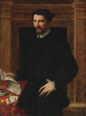 portrait of a gentleman three quarter length holding a letter by mirabello cavalori