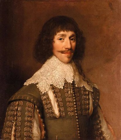 portrait of a gentleman wearing a green tunic embroidered with gold and a white lace collar by balthazar gerbier douvilly