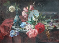 nature morte au jeté de fleurs et céramiques by louis emile adan