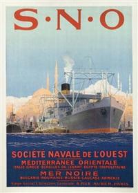 le port d'istambul. société navale de l'ouest. méditérranée orientale - mer noire by sandy (georges taboureau) hook