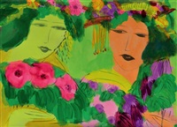 two ladies with flowers by walasse ting