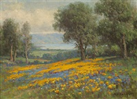 a landscape with poppies and lupine by william franklin jackson