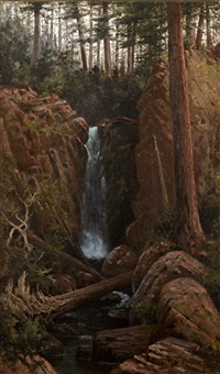 waterfall in a forest interior by grafton tyler brown