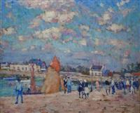 port animé (+ sables d'olonne; 2 works) by clarence montfort gihon