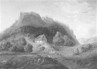 landschaft mit blick auf die ruine (murnau?), mit figürlicher staffage by theodor glatz