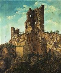 ruine der burg drachenfels by adolf liebscher