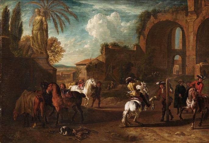 resting horseman by pieter van bloemen