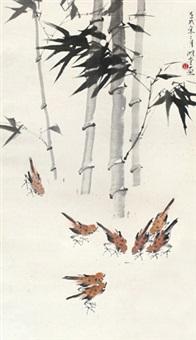 竹林群雀 镜片 纸本 by lin hukui