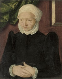 portrait of an old woman in a black dress by christoph amberger
