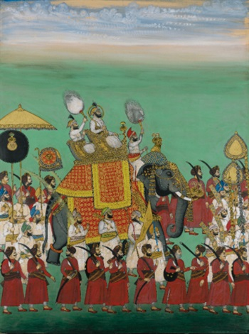 maharana sajjan singh riding in an elephant procession by anonymous indian 19