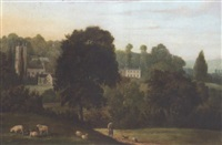 landscape with church, bere regis (?), dorset by william tomkins