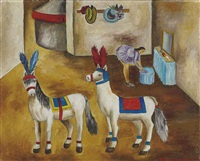 los caballitos pony en su camerino by maría izquierdo