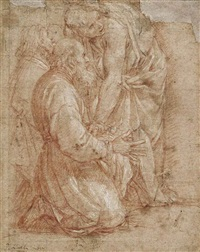 a young man attending an older kneeling man by cavaliere giovanni baglione