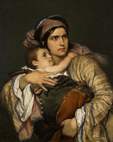 greek mother by cesare felix georges dell acqua