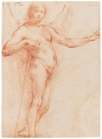study of an angel holding a staff by francesco (cecco bravo) montelatici