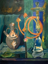 still life with nargila by pinchas litvinovsky