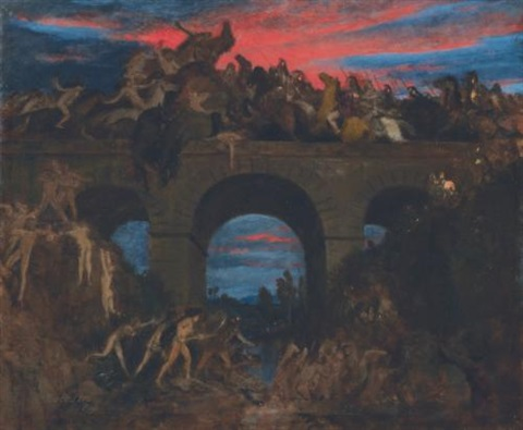 der kampf auf der brücke römerschlacht battle on the bridge by arnold böcklin the elder