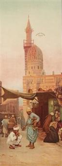 marchand ambulant dans une rue du caire by otto pilny