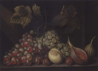 a still life with grapes, figs, walnuts and an apricot, together on a stone ledge by cornelis de bryer