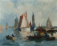 fishing port, concarneau by lucien victor félix delpy