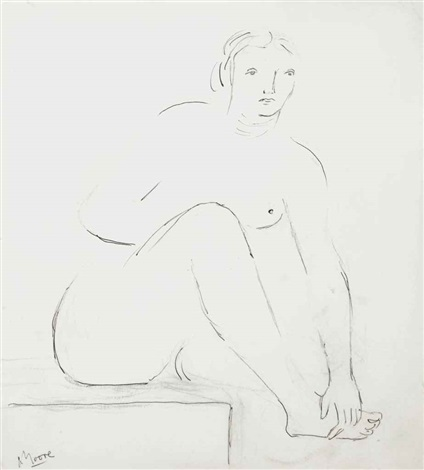 seated woman holding her right foot ii by henry moore