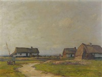 hameau avec isbas dans la campagne russe by vasili (vladimir) vasilievich perepletchikov