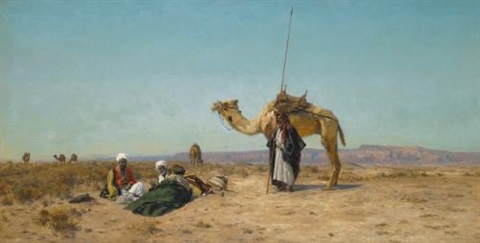 rest in the syrian desert by eugen felix prosper bracht