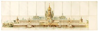 an architectural study for a russian monastery (on 22 joined sheets) by karl teodor mellgren