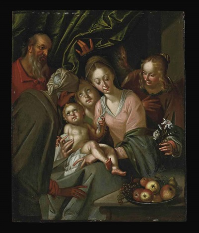 the holy family with saint anne and female attendants by hans von aachen