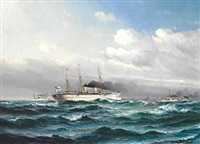 seascape with the imperial german yacht smy hohenzollern and other ships from the imperial german navy outside the harbour of copenhagen by vilhelm victor bille