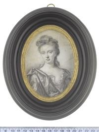 lady hudson, wearing loose robes beneath a mantle draped over her right shoulder, her hair partially upswept and falling behind her neck by thomas forster